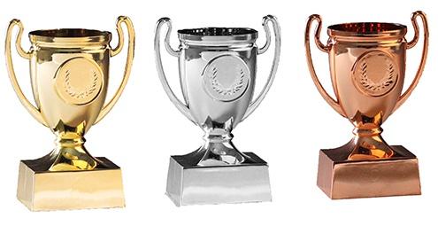 Mini Pokal ca. 11 cm groß in gold, silber, bronze