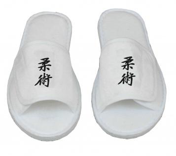 Frottee Slipper mit Ju-Jutsu Schriftzeichen Kanji