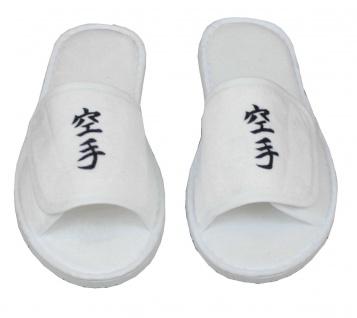 Frottee Slipper mit Karate Schriftzeichen Kanji