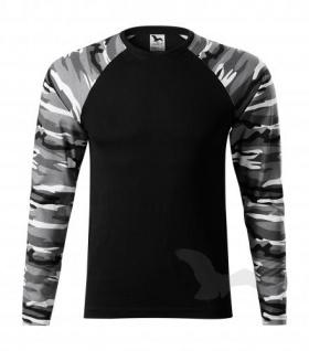 Camouflage T-shirt grau langarm