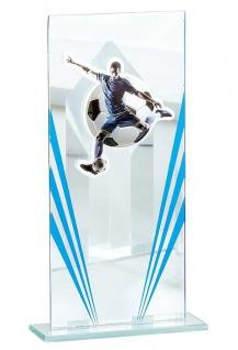 Glasständer mit blauen Applikationen