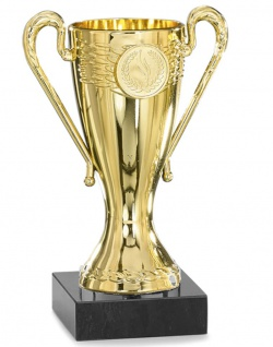 Pokal gold aus Kunststoff mit Marmorsockel