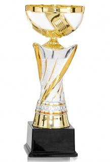 Keramik Pokal in gold und silber mit Kelch auf Kunststoffsockel