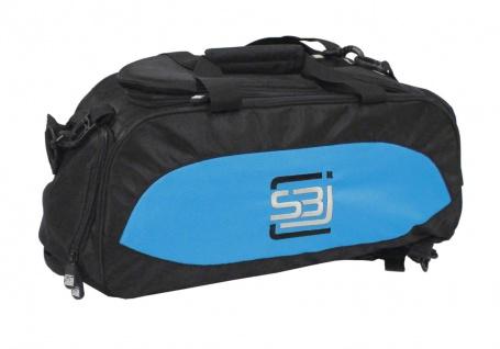 Sporttasche mit Rucksackfunktion in schwarz mit türkisen Seiteneinsätzen