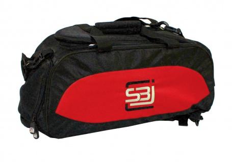 Sporttasche mit Rucksackfunktion in schwarz mit roten Seiteneinsätzen
