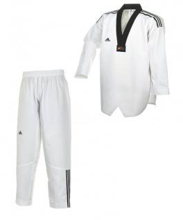 adidas Taekwondoanzug, Adi Club 3, schwarzes Revers mit Schulterstreifen