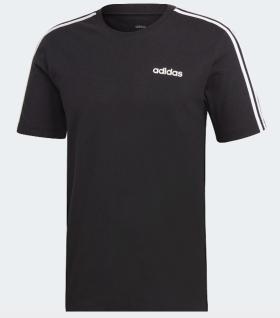adidas T-Shirt schwarz mit weißen Schulterstreifen