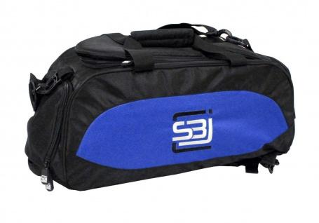 Sporttasche mit Rucksackfunktion in schwarz mit blauen Seiteneinsätzen