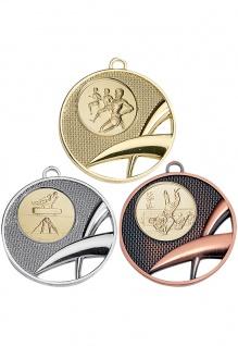 Medaille in gold, silber, bronze X-Design ca. 5 cm