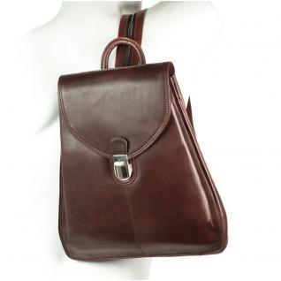 Branco - Kleiner Lederrucksack Größe S / Rucksack-Handtasche aus Leder, Kastanien-Braun, Modell br96