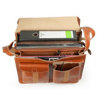 Jahn-Tasche - Große Aktentasche / Lehrertasche Größe XL aus Leder, Cognac-Braun, Modell 676 - Vorschau 3