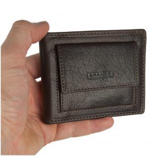Branco - Kleine Geldklammer Geldbörse / Dollarclip Portemonnaie Größe S für Herren aus Leder, Braun, Modell 16749