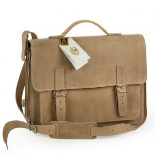 Hamosons - Mittel-Große Aktentasche / Lehrertasche Größe M aus Büffel-Leder, Creme-Beige, Modell 605