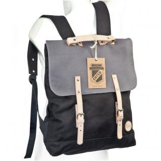 Enter - Großer stylischer Canvas Rucksack / Vintage Rucksack Größe L, Schwarz mit Grau, helles Leder, Modell 1304 - Vorschau 5