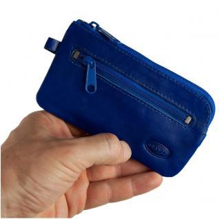 Branco - Großes Schlüsseletui / Schlüsselmäppchen aus Leder, Azur-Blau, Modell 018