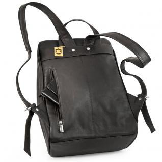 Jahn-Tasche - Mittel-Großer Lederrucksack Größe M / Laptop-Rucksack bis 14 Zoll, Schwarz, Modell 710 - Vorschau 3