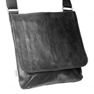 Jahn-Tasche - Umhängetasche Größe M / Handtasche aus Nappa-Leder mit gepolstertem Tablet-Fach, Schwarz, Modell 428