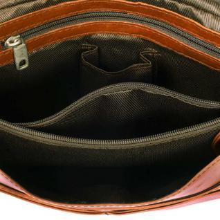 Hamosons - Kleine Damen-Handtasche Größe XS / Umhängetasche aus geöltem Leder, Kastanien-Braun, Modell 575 - Vorschau 4