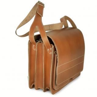 Jahn-Tasche - Sehr Große Aktentasche / Lehrertasche Größe XXL aus Leder, Cognac-Braun, Modell 677 - Vorschau 3