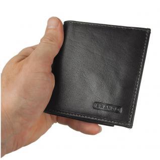 Branco - Kleine Geldklammer Geldbörse / Dollarclip Portemonnaie Größe S für Herren aus Leder, Schwarz, Modell 16795