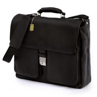 Jahn-Tasche - Elegante Aktentasche Größe L / Laptoptasche bis 15, 6 Zoll, aus Nappa-Leder, Schwarz, Modell 750