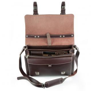 Hamosons - Mittel-Große Aktentasche / Lehrertasche Größe M aus Leder, Braun, Modell 605 - Vorschau 2