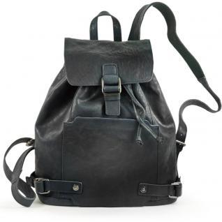 Harolds - Eleganter Lederrucksack / Cityrucksack Größe M aus Leder, Blau-Schwarz, Modell 223902