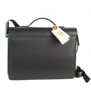 Hamosons - Mittel-Große Aktentasche / Lehrertasche Größe M aus Leder, Schwarz, Modell 605 - Vorschau 4
