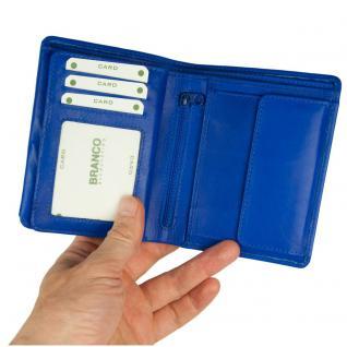 Branco - Große Geldbörse / Portemonnaie Größe L für Herren aus Leder, Hochformat, Azur-Blau, Modell 12005 - Vorschau 2