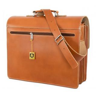 Hamosons - Große Aktentasche / Lehrertasche Größe XL aus Leder, Cognac-Braun, Modell 690 - Vorschau 3