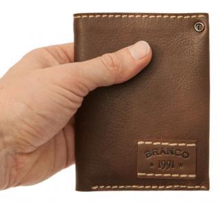 Branco - Mittel-Große Geldbörse / Portemonnaie Größe M für Herren aus Leder, Hochformat, Braun, Modell 14769