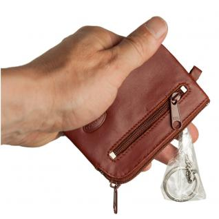 Branco - Kleines Schlüsseletui / Schlüsselmäppchen aus Leder, Braun, Modell 019 - Vorschau 3