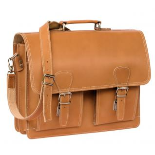 Hamosons - Klassische Aktentasche / Lehrertasche Größe L aus Leder, Cognac-Braun, Modell 600 - Vorschau 3