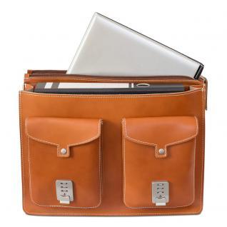 Hamosons - Große Aktentasche / Lehrertasche Größe XL aus Leder, Cognac-Braun, Modell 690 - Vorschau 2