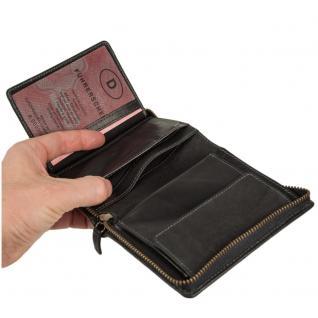 Branco - Große Geldbörse / Portemonnaie Größe L für Herren aus Leder, Hochformat, Schwarz, Modell 35009 - Vorschau 3