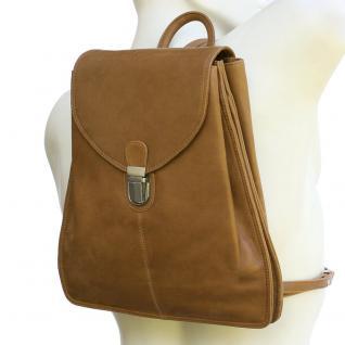 Branco - Kleiner Lederrucksack Größe S / Rucksack-Handtasche aus Leder, Cognac-Braun, Modell br96