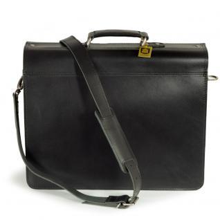 Hamosons - Klassische Aktentasche / Lehrertasche Größe L aus Leder, Schwarz, Modell 600 - Vorschau 3