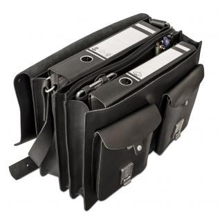 Hamosons - Große Aktentasche / Lehrertasche Größe XL aus Leder, Schwarz, Modell 690