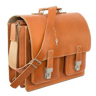 Hamosons - Große Aktentasche / Lehrertasche Größe XL aus Leder, Cognac-Braun, Modell 690