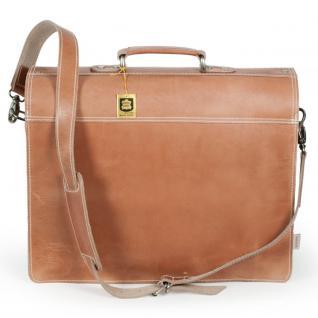 Hamosons - Klassische Aktentasche / Lehrertasche Größe L aus Leder, Natur-Braun two-tone, Modell 600 - Vorschau 4