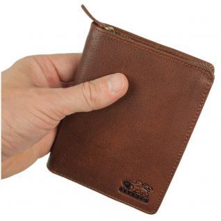 Branco - Große Geldbörse / Portemonnaie Größe L für Herren aus Leder, Hochformat, Braun, Modell 35009