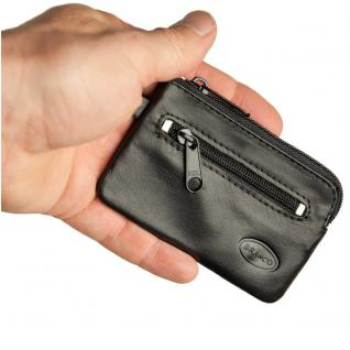 Branco - Kleines Schlüsseletui / Schlüsselmäppchen aus Leder, Schwarz, Modell 019