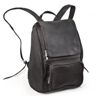 Jahn-Tasche - Mittel-Großer Lederrucksack Größe M / Laptop-Rucksack bis 14 Zoll, Schwarz, Modell 710