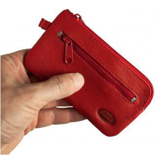 Branco - Großes Schlüsseletui / Schlüsselmäppchen aus Leder, Rot, Modell 018