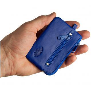 Branco - Kleines Schlüsseletui / Schlüsselmäppchen aus Leder, Azur-Blau, Modell 019