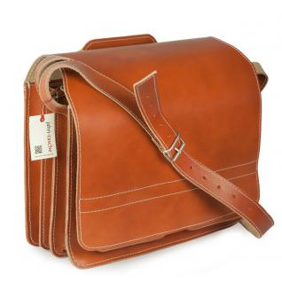 Jahn-Tasche - Große Aktentasche / Lehrertasche Größe XL aus Leder, Cognac-Braun, Modell 676