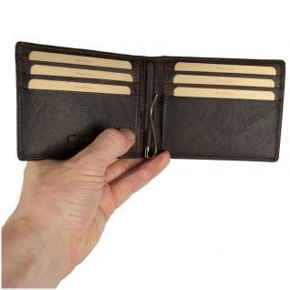 Branco - Kleine Geldklammer Geldbörse / Dollarclip Portemonnaie Größe S für Herren aus Leder, Braun, Modell 16749 - Vorschau 3