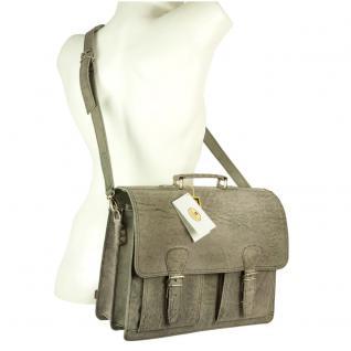 Hamosons - Klassische Aktentasche / Lehrertasche Größe L aus Büffel-Leder, Dunkel-Grau, Modell 600 - Vorschau 4