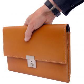 Jahn-Tasche - A5 Dokumentenmappe / Dokumententasche, aus Leder, Cognac-Braun, Modell 1021
