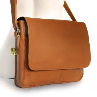 Jahn-Tasche - Elegante Laptoptasche Größe M / Notebooktasche bis 15 Zoll, aus Leder, Cognac-Braun, Modell 448